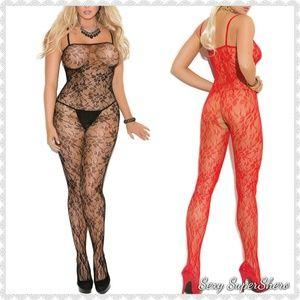 🆕Rose Pattern Lace Open c Lingerie BodyStocking